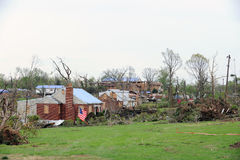 Tornadoes in Saint Louis. SAINT LOUIS, MISSOURI - APRIL 23: Damaged homes show tarp-covered roofs after tornadoes hit the Bridgeton area on Friday April 22, 2011 Royalty Free Stock Photos