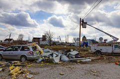 Tornadonachmahd in Henryville, Indiana Lizenzfreie Stockfotos