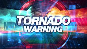 Tornadowaarschuwing - de Grafiektitel van Uitzendingstv stock footage
