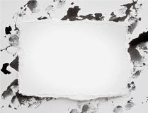 Torne watercolor paper on black ink splash, blob Royalty Free Stock Photos