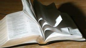 Torneado de páginas de la biblia en el viento metrajes