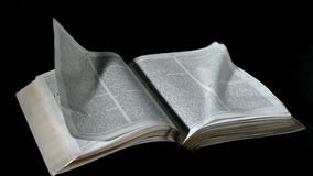 Torneado de páginas de la biblia en el viento en fondo negro almacen de video