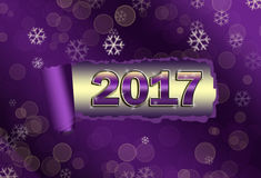 Torned paper Nev Year 2017 backround. Torned paper Nev Year 2017 on the violet backround royalty free illustration