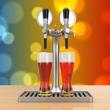 Torneira da cerveja da barra com vidros de cerveja rendição 3d Foto de Stock Royalty Free