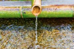 Torneira de bambu, torneira de água no templo do zen, Kyoto Japão fotografia de stock royalty free
