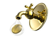 Torneira dourada com queda das moedas de ouro Fotos de Stock Royalty Free
