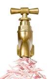 Torneira dourada do vintage com dinheiro Imagem de Stock Royalty Free