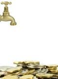 Torneira e moedas Imagem de Stock