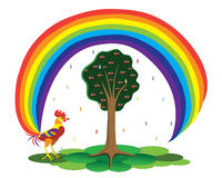 Torneira e um arco-íris. ilustração do vetor