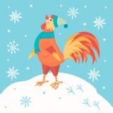torneira Galo dos desenhos animados na roupa do inverno O símbolo do ano novo Imagem de Stock Royalty Free