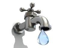 Torneiras de gotejamento com uma gota da água Imagens de Stock Royalty Free