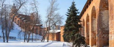 Tornen och väggen av den Nizhny Novgorod Kreml Arkivfoton