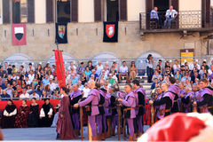 Torneo de la ballesta en Sansepolcro, Italia foto de archivo libre de regalías