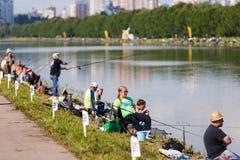 Torneo de la pesca de la liga de Awami Moscú, Rusia 23 de julio de 2016 foto de archivo libre de regalías