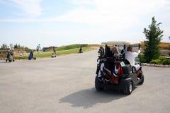 Torneo del golf - sistema del golf, carro de golf Foto de archivo