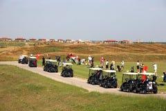 Torneo del golf - sistema del golf, carros de golf Imagen de archivo