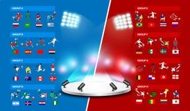 Torneo 2018 del mondo di calcio della tabella in Russia Fotografia Stock Libera da Diritti