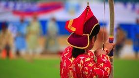 Torneo del tiro al arco del festival de Naadam almacen de video
