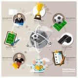 Torneo di calcio ed icona piana Infographic di sport illustrazione di stock