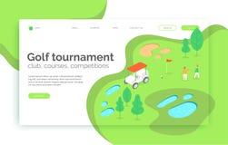 Torneo di golf, corsi, concorrenza, sito Web della scuola, pagina d'atterraggio, presentazione, disposizione, app, insegna illustrazione di stock