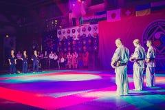Torneo di nunchaku di Kobudo immagini stock libere da diritti