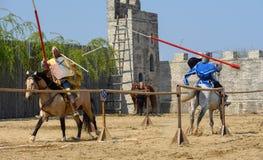 Torneo medieval de los caballeros de Transilvania en Rumania imagen de archivo