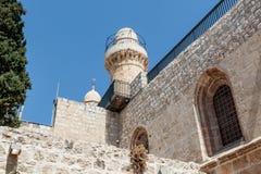 Tornet av David över gravvalvet av konungen David i den Dormition abbotskloster i den gamla staden av Jerusalem, Israel Arkivbilder