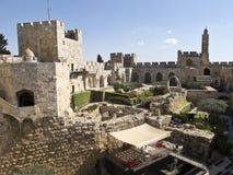 Tornet av David och arkeologiskt parkerar Arkivbilder