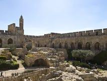 Tornet av David och arkeologiskt parkerar Fotografering för Bildbyråer