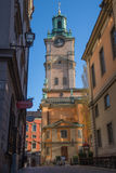 Tornet av den stora kyrkliga domkyrkan, Stockholm Sverige Royaltyfri Bild
