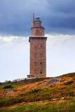 Tornet av Hercules är en forntida romersk fyr Arkivfoto