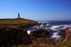 Tornet av Hercules i en Coruña Spanien arkivbild