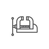 Tornillo de banco del taller, línea icono, muestra del vector del esquema, pictograma linear de la abrazadera del estilo aislado  libre illustration