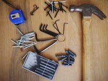 Tornillo de la caja de herramientas del destornillador de la herramienta del martillo Imagenes de archivo