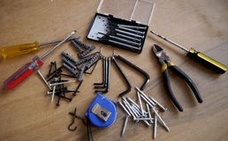 Tornillo de la caja de herramientas del destornillador de la herramienta del martillo Imagen de archivo