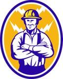 Tornillo de relámpago del trabajador de construcción del electricista Imágenes de archivo libres de regalías