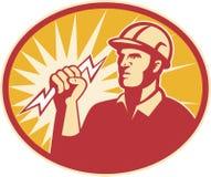 Tornillo de relámpago del trabajador de la línea eléctrica del electricista Fotografía de archivo