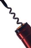 Tornillo del corcho y botella de vino Foto de archivo libre de regalías