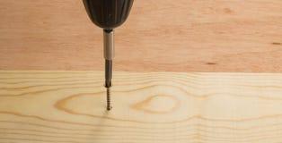 Tornillo del oro que es medido y conducido en un tablero Imágenes de archivo libres de regalías