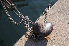 Tornillo del puerto que cuelga el barco Fotos de archivo libres de regalías