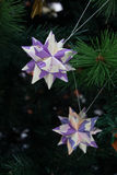 Tornillo Kusudama Origami decorations in Christmas Tree Royalty Free Stock Photo