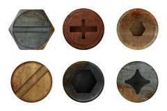 Tornillo oxidado viejo de los pernos Textura del metal del moho del hardware para diversas herramientas del hierro Imágenes reali libre illustration
