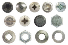 Tornillo, perno, perno prisionero, nuez, lavadora y aislante de la arandela elástica en blanco imágenes de archivo libres de regalías