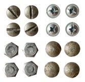Tornillo, tornillo, colección del remache aislada foto de archivo