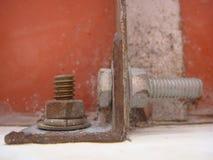Tornillo y nuez oxidados Fotografía de archivo