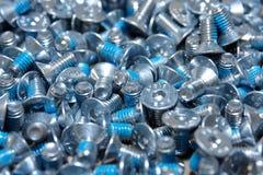 Tornillos azules Imagenes de archivo