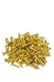 Tornillos de cobre amarillo Imágenes de archivo libres de regalías