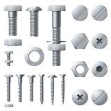 Tornillos de metal Elementos de acero de la construcción de la cabeza del remache de la nuez del tornillo del perno Sistema aisla ilustración del vector