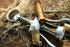 Tornillos del corcho que ponen en el vector de roble Fotografía de archivo