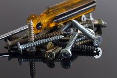 Tornillos y destornillador Imagen de archivo libre de regalías